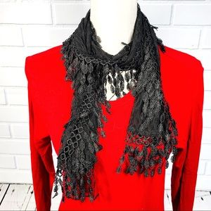 Accessories - Beautiful Lacy Black Scarf